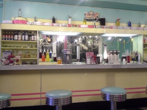 Counter at Pop's Diner, a 1950's style soda fountain and diner outside of Philadelphia, PA