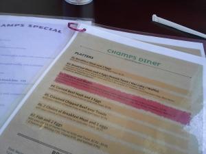Menu for Champs Diner