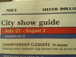 Silver Dollar City Theme Park Summer 2015 show schedule depicting the Championship Cloggers