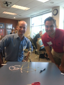 Marshmallow challenge structure with co-builders, Erick Price and Greg Mueller