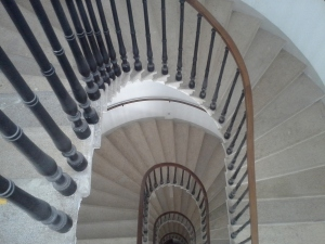 Looking down a staircase at Palais Winkleheim, Webster University's Vienna campus