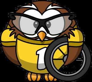 Cartoon owl holding a bike wheel by OpenClipartVectors on Pixabay at https://pixabay.com/en/owl-animal-bicycle-bike-bird-158413/