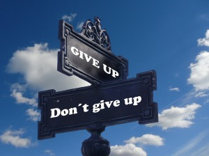 """Street signs depicting the corner of """"Don't give up"""" and """"Give up.""""  By geralt on Pixabay at https://pixabay.com/en/road-sign-shield-courage-hope-task-940644/"""