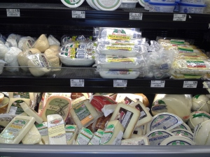 Portion of the cheese counter at Schnucks grocery store