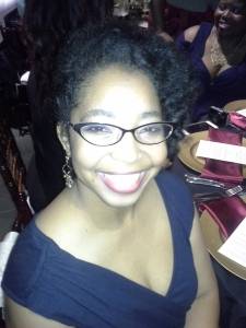 Roshaunda in a navy blue formal dress.  And smoky eyes.  Can you see the smoky eyes?