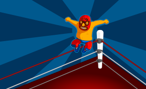 Cartoon image of a wrestler jumping from the top rope by OpenClipartVectors on Pixabay at https://pixabay.com/en/boxing-ring-wrestling-wrestler-149840/