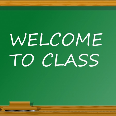 "Chalkboard with ""Welcome to Class"" written on it by Tumisu on Pixabay at https://pixabay.com/en/back-to-school-classroom-school-913072/"
