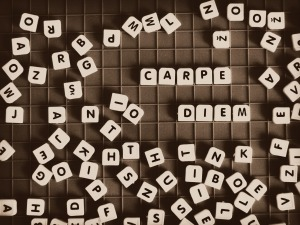 Carpe Diem letter tiles by FabyGreen on Pixabay at https://pixabay.com/en/quotes-carpe-diem-word-diem-729173/