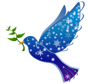 Blue dove, with snowflake designs, holding an olive branch by inspiredimages on Pixabay at https://pixabay.com/en/peace-dove-bird-symbol-love-1010292/