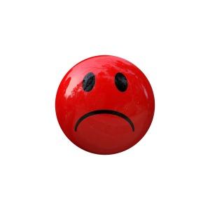Red sad face emoticon by McLac2000 on Pixabay at https://pixabay.com/en/smiley-emoticon-dash-face-grin-1020187/