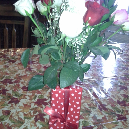 A dozen roses and a box of candy for Valentine's Day
