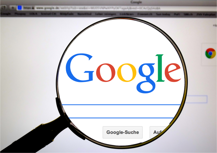 Google logo inside of a magnifying glass by HebiFot on Pixabay at https://pixabay.com/en/google-www-online-search-search-485611/