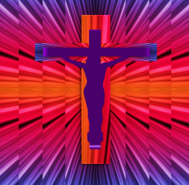 Jesus on the cross in psychedelic style by ZIPNON on Pixabay at https://pixabay.com/en/jesus-christ-silhouette-easter-786999/