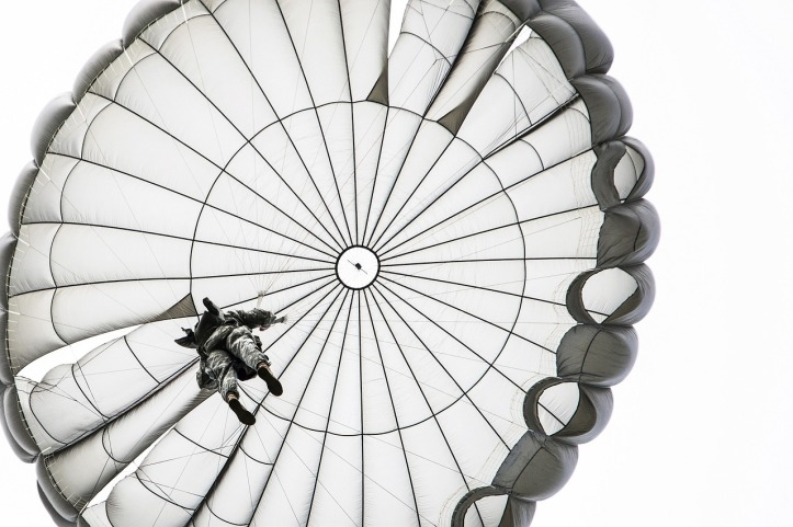 Parachutist by skeeze on Pixabay at https://pixabay.com/en/parachute-jump-opened-skydiving-900272/