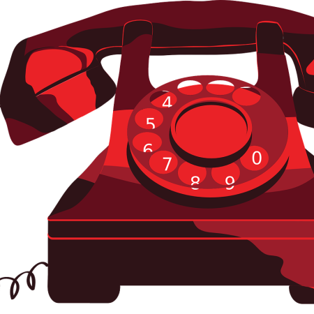Vintage telephone by bastet7 on Pixabay at https://pixabay.com/en/phone-red-vintage-vectors-388838/