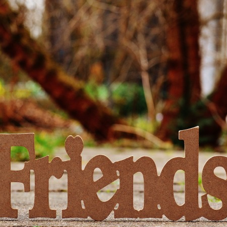 "Cutout of the word ""Friends"" standing on a sidewalk by Alexas_Fotos on Pixabay at https://pixabay.com/en/friends-friendship-together-love-1272735/"