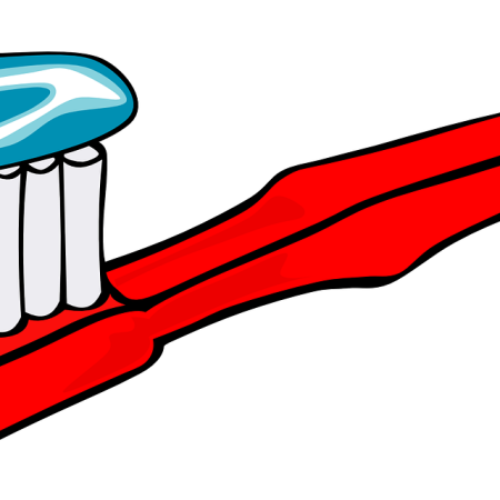 Toothbrush with toothpaste by ClkrFreeVectorImages on Pixabay at https://pixabay.com/en/toothbrushe-brush-toothpaste-24232/