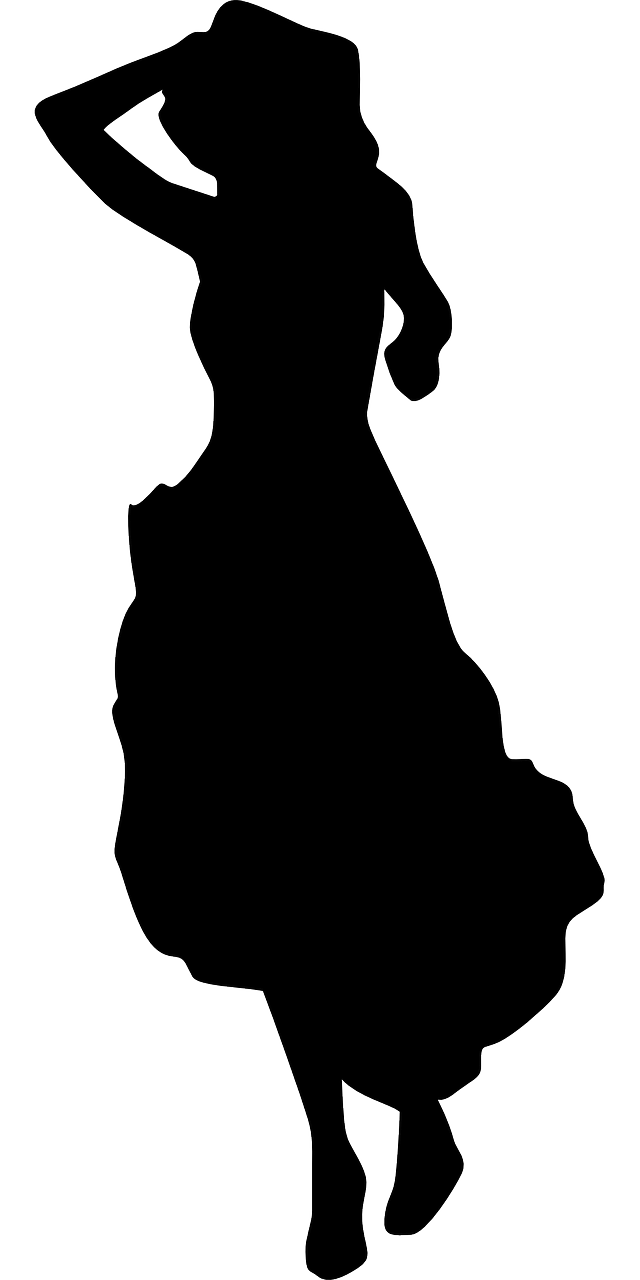 Silhouette of a woman in a long skirt or dress by OpenClipartVectors on Pixabay at https://pixabay.com/en/lady-woman-adult-people-skirt-147887/