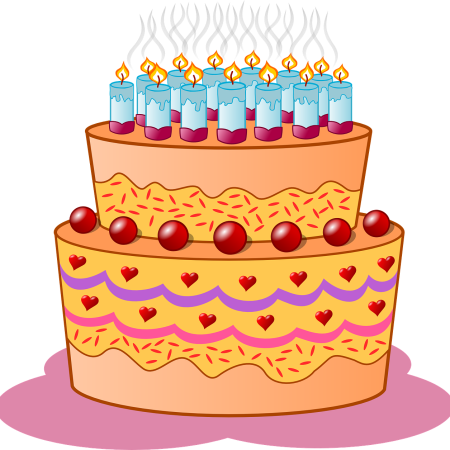 Birthday cake by ClkrFreeVectorImages on Pixabay at https://pixabay.com/en/birthday-cake-candles-icing-cream-33087/