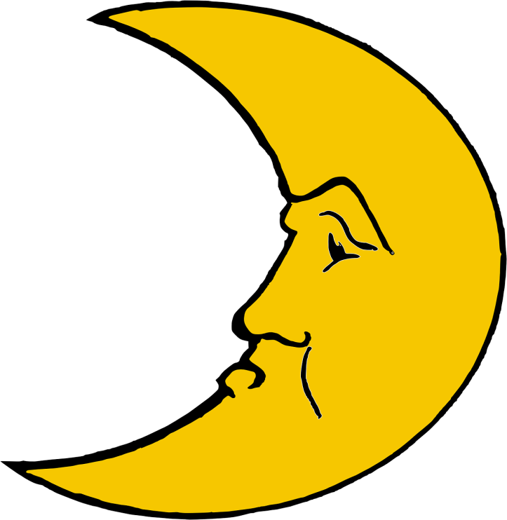 Grumpy crescent moon image by ClkerFreeVectorImages on Pixabay at https://pixabay.com/en/crescent-moon-unhappy-sleepy-tired-297801/