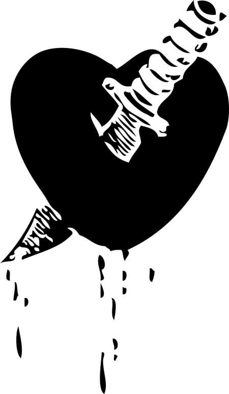 Black and white image of a dagger piercing a heart by ClkrFreeVectorImages on Piabay at https://pixabay.com/en/heart-love-knife-pierced-dagger-32834/
