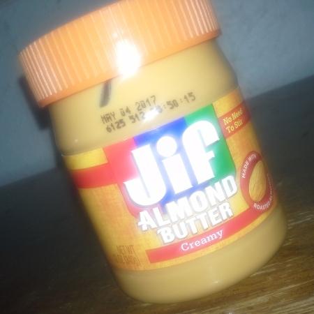 Jar of Jif creamy almond butter