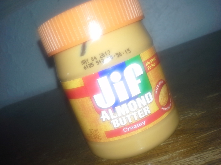 Jar of Jif creamy almond butter
