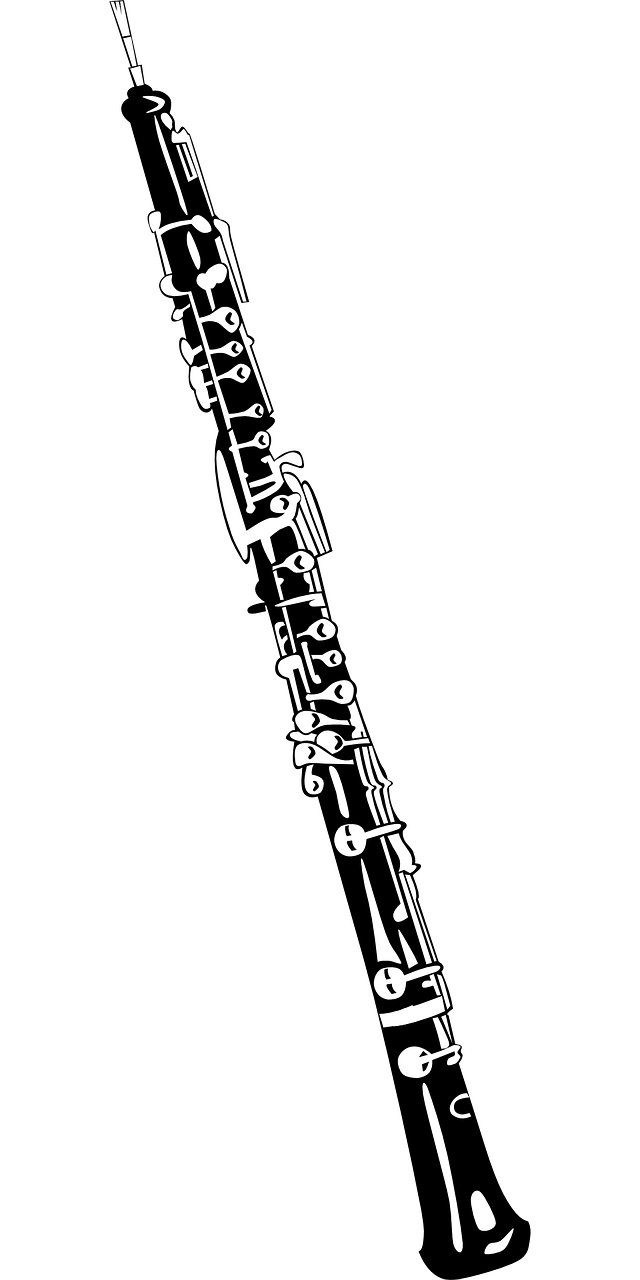 Oboe by ClkerFreeVectorImages on Pixabay at https://pixabay.com/en/oboe-musical-instrument-woodwind-34796/