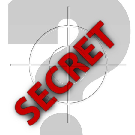 "The word ""SECRET"" written in red, diagonally across a gun sight and a question mark by geralt on Pixabay at https://pixabay.com/en/secret-espionage-security-205646/"
