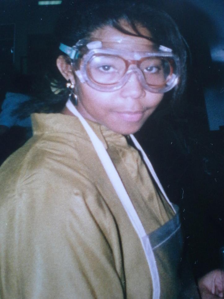 Roshaunda, circa 1990 in chemistry class
