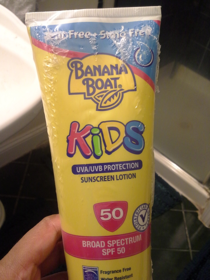 Photograph of the sunscreen I'm going to put in my car for the next time I see a person in need - yes it's SPF 50. I am so serious about sun protection.