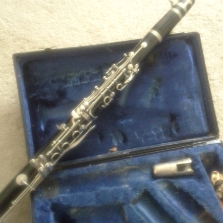 My clarinet. Do you see the cork dust covering the inside of the case?