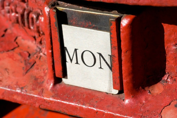 Monday by PublicDomainPictures on Pixabay at https://pixabay.com/en/postbox-british-red-monday-post-15502/