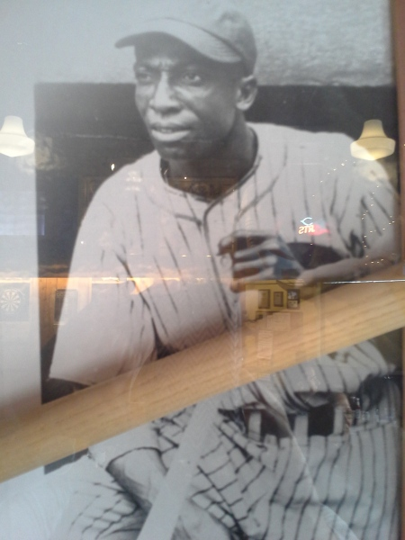 "Picture of James ""Cool Papa"" Bell taken from a display at Blueberry Hill restaurant. Ignore the reflections of lights and such."