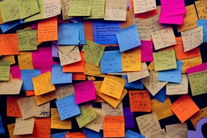 Post it Notes like I used copiously while writing my dissertation. Image by Pexels on Pixabay at https://pixabay.com/en/post-it-notes-sticky-notes-note-1284667/