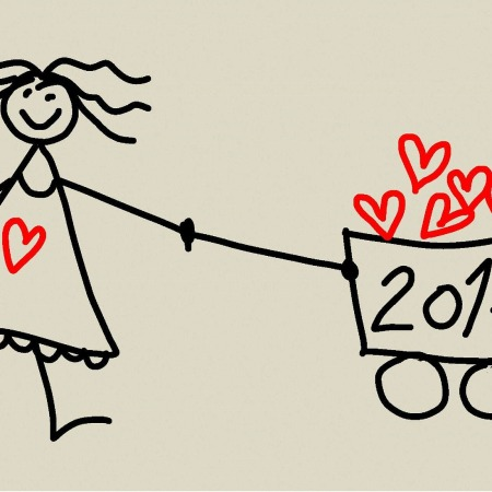 Stick figure woman carrying a 2017 cart overflowing with hearts by danielam on Pixabay at https://pixabay.com/en/pf-2017-new-year-new-celebration-1936491/