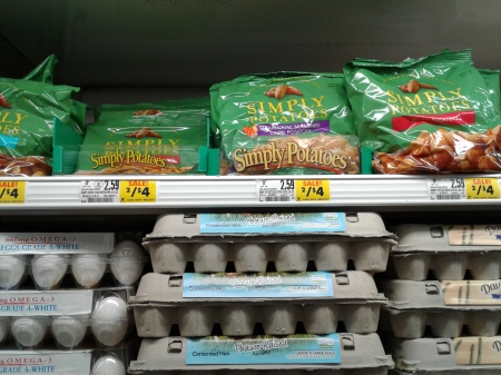 Potatoes in the egg section at the grocery store