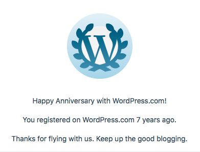 Wordpress 7th anniversary achievement banner