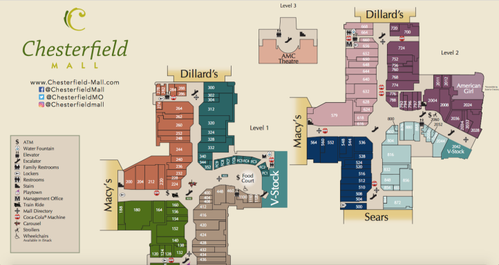 Chesterfield Mall Directory Map from https://www.chesterfield-mall.com/pdfs/directorymap.pdf